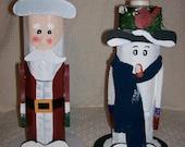 Santa and Snowman Handpainted Votive Candleholders