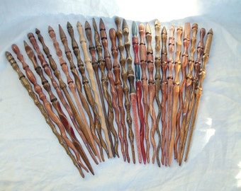 PAIR of Somewhat Random hand carved wands SALE