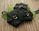 Eco friendly felt Poppy flower hair clip, pin, magnetic backing, brooch, comb or headband Black Green