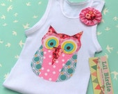 Baby Singlet Tank Happy Hooting Pink Owl