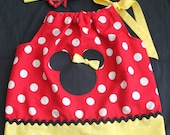 Minnie Mouse pillowcase dress with applique and matching headband.... FREE SHIPPING.......