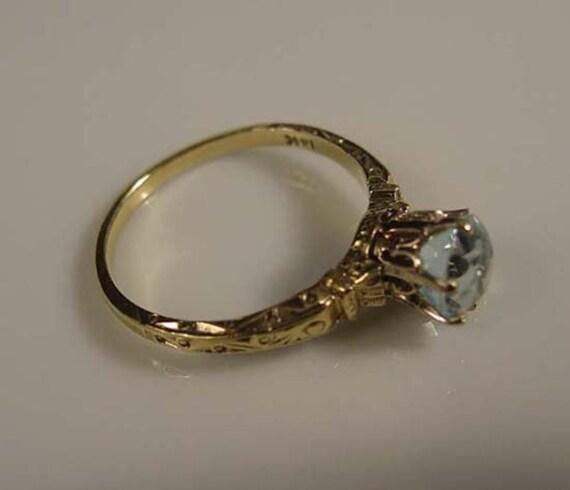 antique edwardian 1910 aquamarine engagement ring