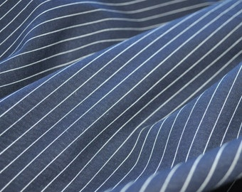 SALE - Organic Cotton - Pinstripe Navy/White - 1 yard
