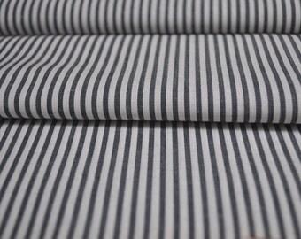 SALE - Organic Cotton - Stripe White/Navy - 1 yard