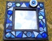 MIRROR WITH BROOCH  Blue Multi Media Mosaic Mirror with Detachable Pin Stained Glass Wood Frame