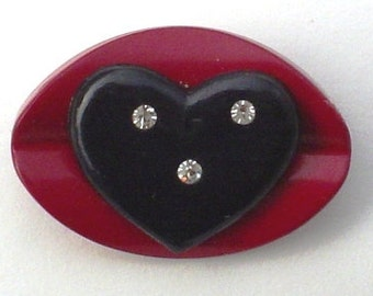 Vintage Button Pin:  Sealed with a Kiss Valentine's Day Vintage Button Jewelry