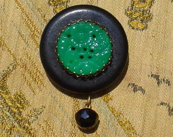 SALE 25 PERCENT OFF Vintage Button Pin/Pendant: Jade Green Glass Flower with Black Vintage Ball Button Dangle Jewelry