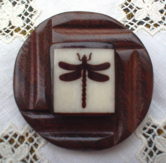Vintage Button Pin:  Dreams Woodsy Dragonfly Vintage Button Jewelry