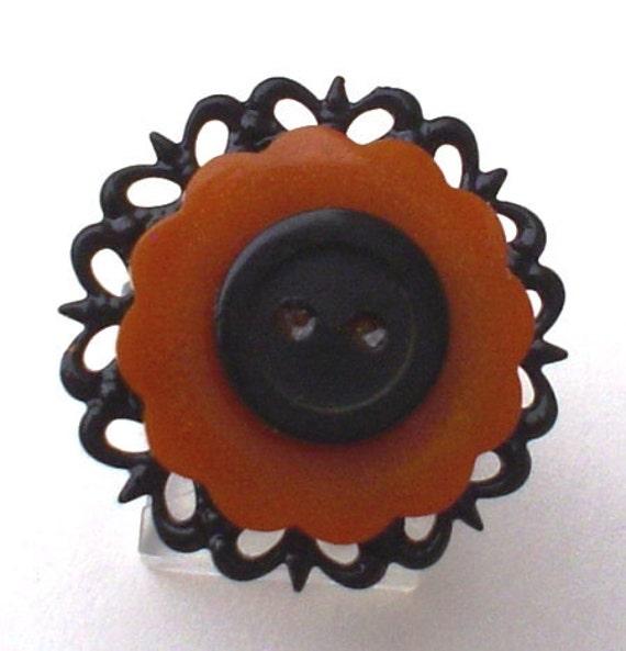 Vintage Bakelite Button Ring Vintage Button Jewelry