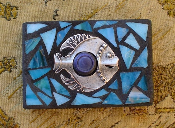 ACEO Mosaic: Kinda Fishy Vintage Buttons Stained Glass Mixed Media Mosaic Shelf Sitter Wall Hanging Gift