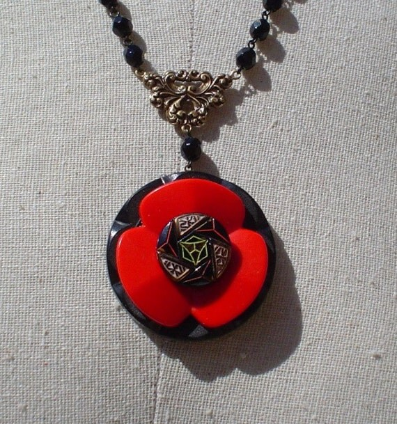 Vintage Rosary and Button Necklace Jewelry: The Red Poppy II