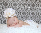 Newborn Headband, Weddings, Baptism,Christening, Flower Girls, Baby Headband Ivory Lace Flower Headband, Baby Crown