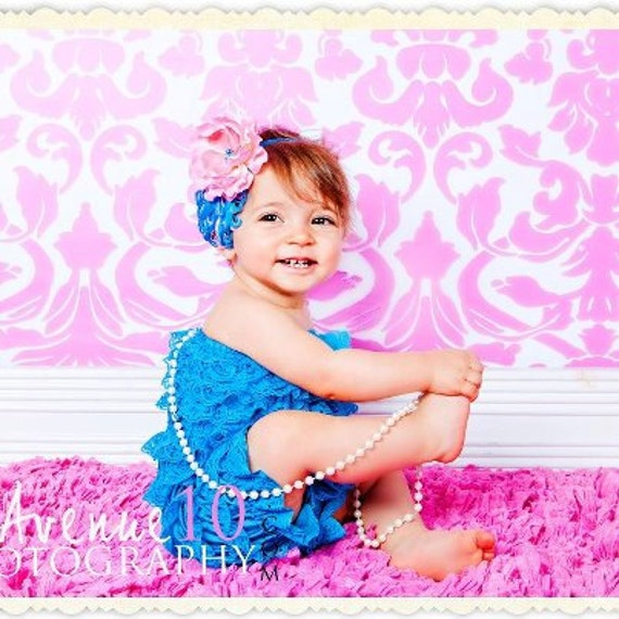 Aqua and Coral Pink Nagorie Feather Baby Glitter Headband with Ruffled Ranunculus Flower