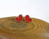 Red Heart Stud Earrings - Sterling Silver and Crystal Enamel - Love Earrings