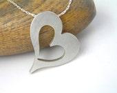 Silver Heart Necklace Pendant - Big Heart Pendant - Long Chain