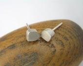 Sterling Silver Stud Earrings - Freeform Cubes