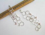 Long Bubbles Dangle Earrings with Pearls - Loops earrings - Bubble Earrings - Sterling Silver