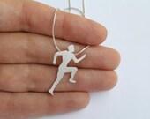 Runner Necklace Pendant - Silver Running Man Silhouette Pendant -Hand Cut