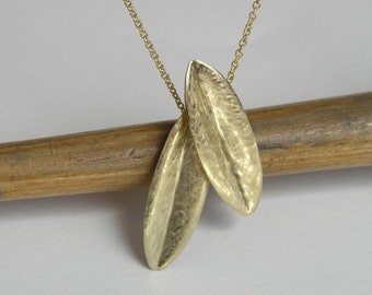 Gold Leaves Necklace Pendant - Olive Leaf Pendant - 14k Gold - Solid Gold