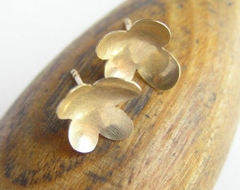 14k Gold Flower Earrings - Solid Gold Jewelry - Flower Petals - Concave Flower Studs