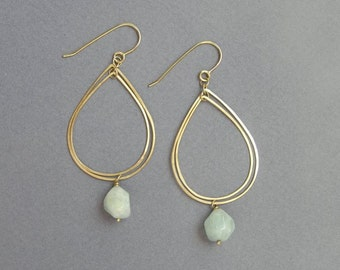 14k Gold Drop Earrings - Mobile Dangle Earrings - Solid Gold with Aquamarine