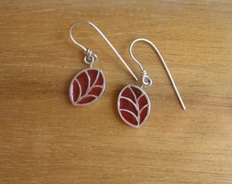 Silver Earrings - Dangling Red Leaf  Earrings - Sterling Silver and Resin
