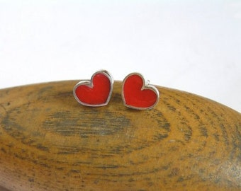Red Heart Stud Earrings - Sterling Silver and Crystal Enamel - Love Earrings