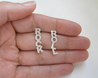 Silver Earrings - Rock & Roll Studs - Hand Cut - Sterling Silver