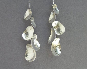 Dangle Silver Earrings - Long Cluster Earring - Leaves Branch Earrings - Sterling Silver