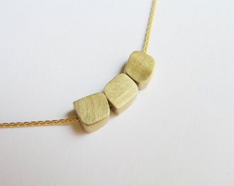 14k Gold Necklace - Cubes Necklace -  Dainty Gold Pendant Necklace