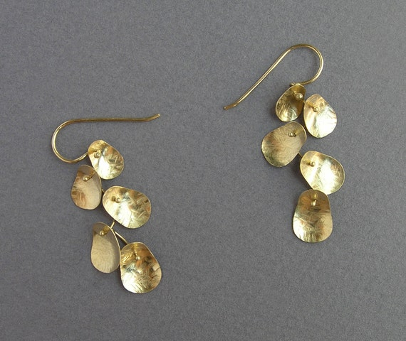 Solid Gold Dangle Earrings - Leaves Earrings - 14k Gold - Cluster Earrings - Solid Gold Jewelry