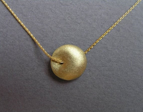 Solid 14k Gold  Pendant Necklace - Round Pendant  - Puffy Bead Pendant - 14k Gold Jewelry