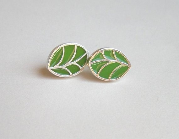 Silver Leaf Earrings - Green Leaf Studs - Sterling Silver and Resin