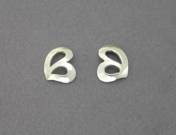 Silver Earrings - Heart  Studs -  Leaf Studs - Hand Cut