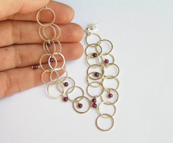 Long Dangle Earrings - Sterling Silver with Garnet - Bubble Earrings -  Circles Earrings - Wire Earrings