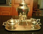 Art Deco Coffee Pot Tray Creamer Covered Sugar Glass Top Percolator Works Chrome
