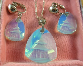 Etched Glass Pendant & Earrings Set Sterling 20in chain 1950's 3-D Hologram style