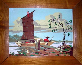 Vintage Paint by Number Oriental Scene 20X16 inches