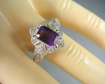 Amethyst and Diamond Ring 1.08Ctw Size 7 14K WG 3.73gm February Birthstone Estate Jewelry