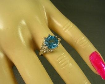 Blue Topaz Filigree Ring Sterling Silver 2 Carat Size 6.5 December Birthstone Ring
