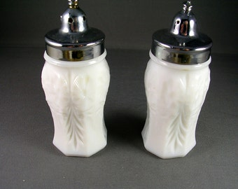 Milk Glass Salt and Pepper Shakers 4 inches tall Chrome Tops