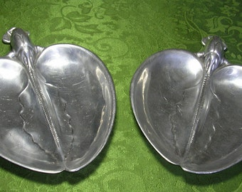 Mid Century Hammered Aluminum Bruce Fox Lobster Serving Dishes Pair 9 inches long Marked LM 20