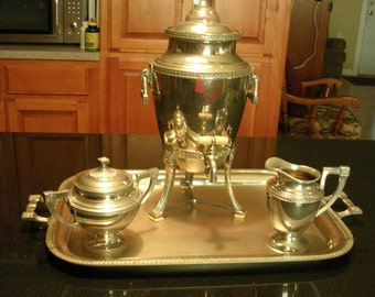 Art Deco Coffee Pot Tray Creamer Covered Sugar Glass Top Percolator Works Chrome