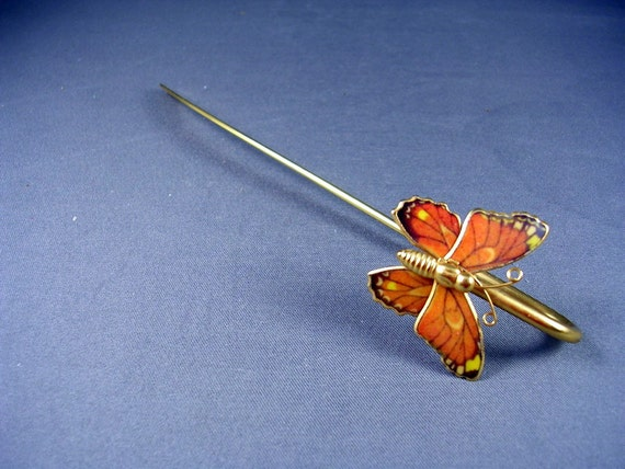 Vintage Butterfly Bookmarker - Orange Enamel and Goldtone Metal 5 1/2 inches long