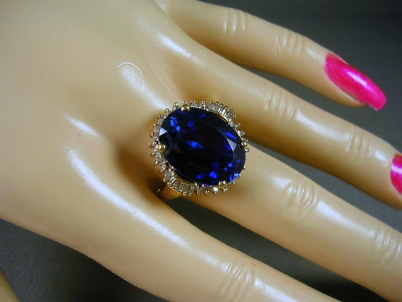RESERVED - 10.28 Carat Blue Lab Sapphire and Diamond Ring size 7.75 YG 5.95gm Looks Like Royalty