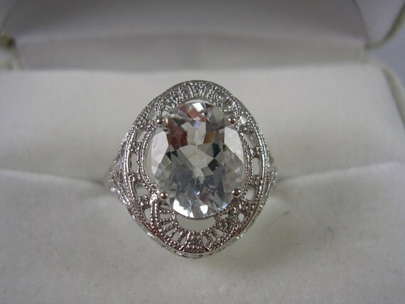 Aquamarine Filigree Ring Sterling Silver 2 carats Size 6.75 March Birthstone 2.2gm
