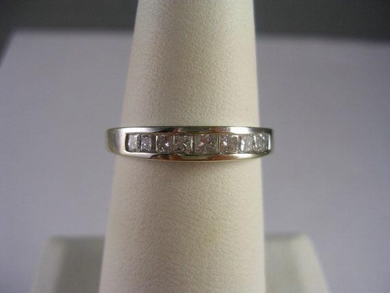 Princess Diamond Wedding Band .50Carats Size 7.75 14K WG 3.1gm