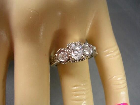 Estate Diamond ring .95Ctw antique mllgrain design 3-stone 14K WG 5.8gm Size 8.25 Appraisal 3,399.00