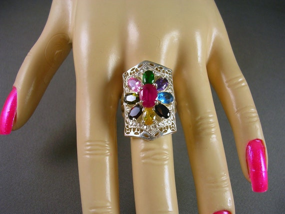 RESERVED Bal Due  includes sizing fee-  Ruby and Multi Gemstone Ring Sterling Silver 5.30 CTW Sz 7 25 9.12 grams Natural gemstones