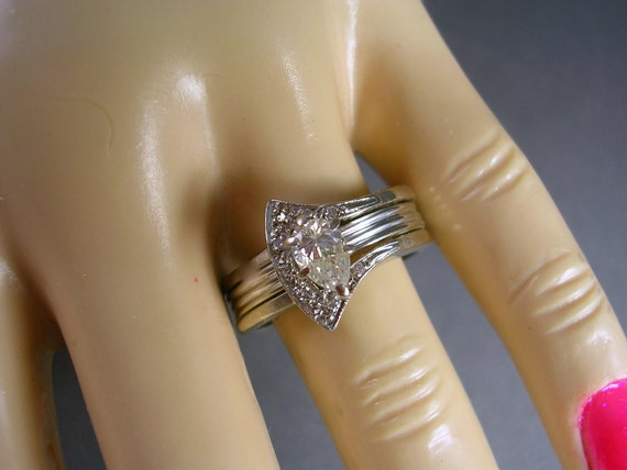 reserved M - 1950s Pear Cut Diamond  solitaire and Pave Diamond Guard Wedding Set .59Ctw Size 7.75 14K WG 6.8 grams